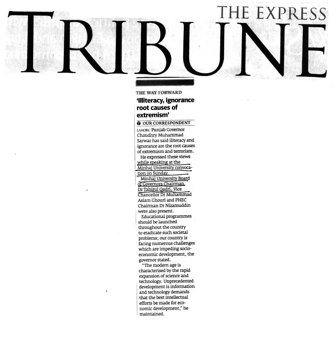 Minhaj-ul-Quran  Print Media Coverage DAILY EXPRESS TRIBUNE BACK PAGE