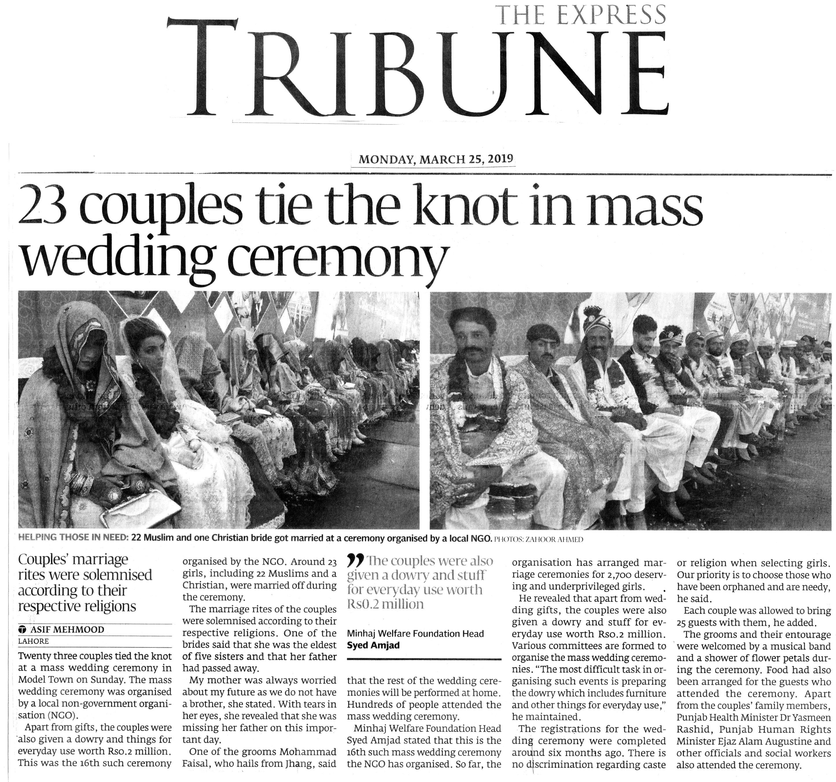 Minhaj-ul-Quran  Print Media CoverageDAILY EXPRESS TRIBUNE BACK PAGE
