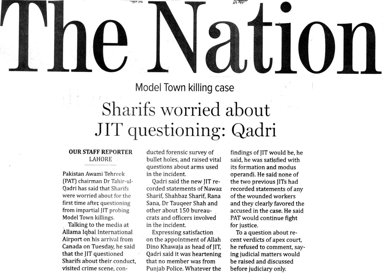 Pakistan Awami Tehreek  Print Media Coverage THE NATION BACK PAGE