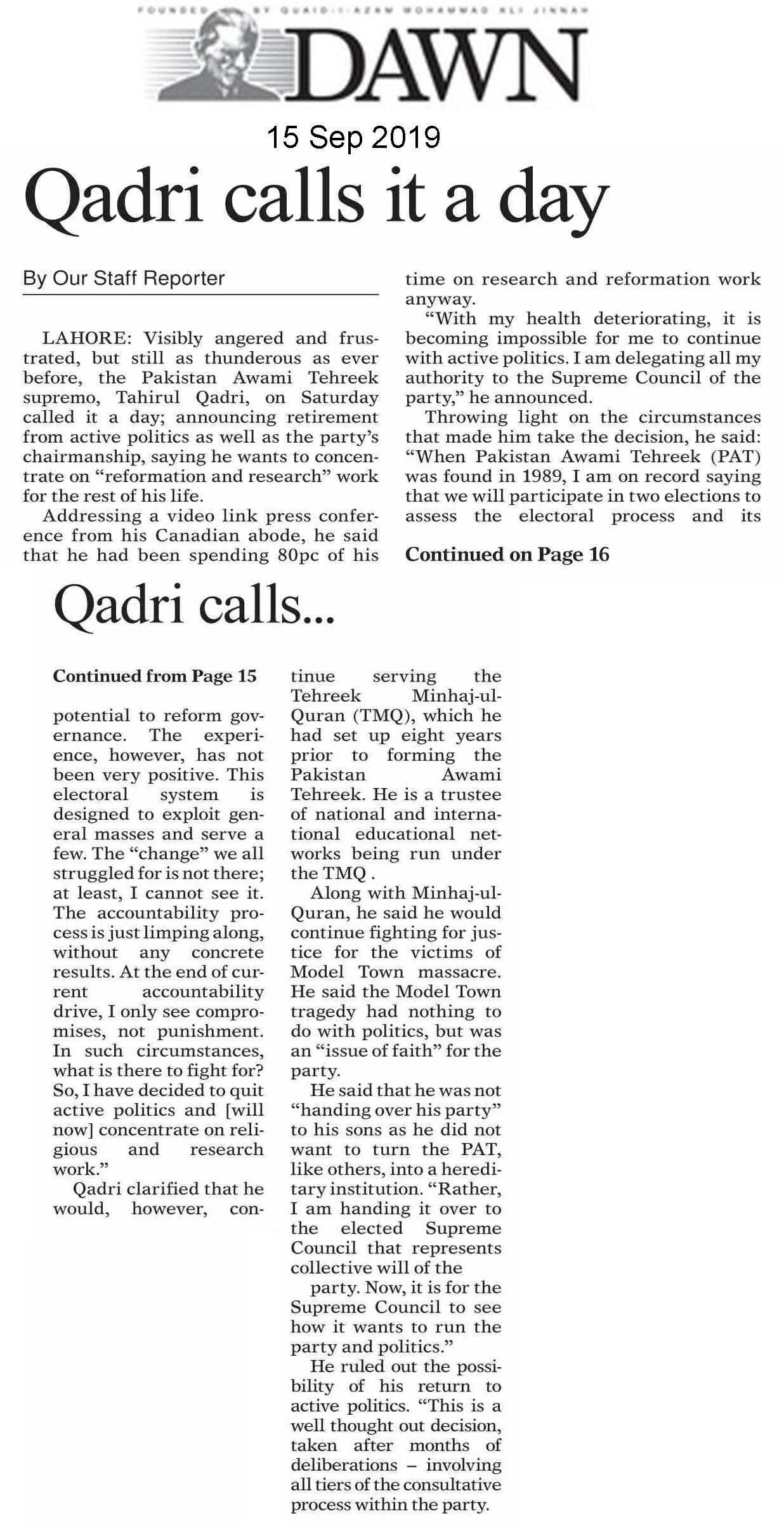 Minhaj-ul-Quran  Print Media CoverageDAILY DAWN FRONT PAGE