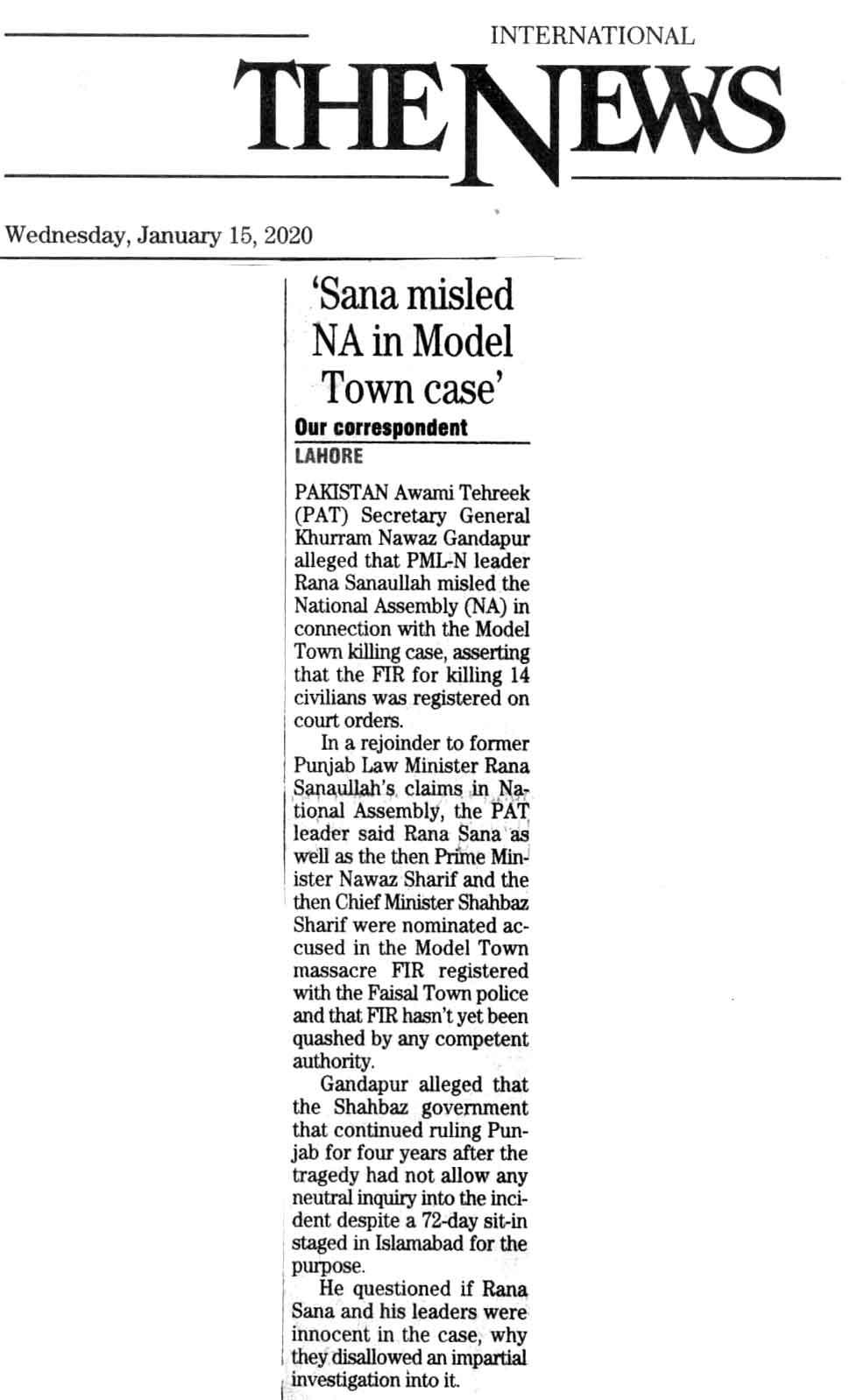 Minhaj-ul-Quran  Print Media Coverage DAILY THE NEWS BACK PAGE