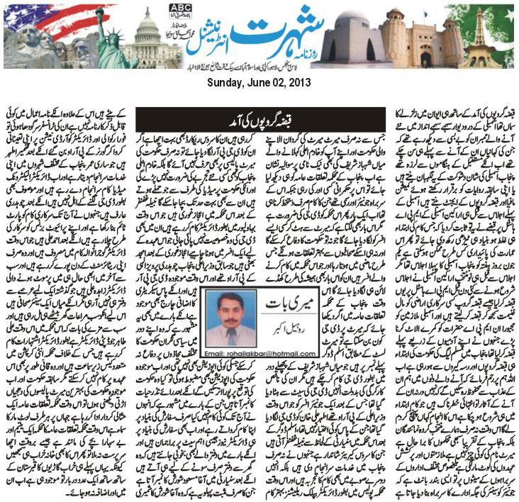 Minhaj-ul-Quran  Print Media CoverageDaily Shohrat