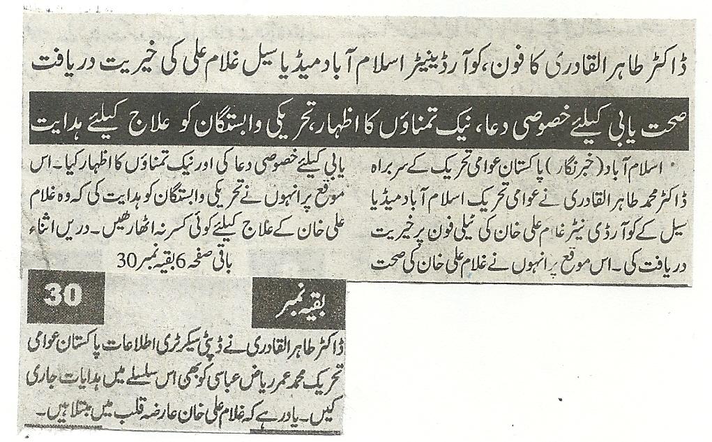Pakistan Awami Tehreek  Print Media Coverage Daily sada e chanar pag 8