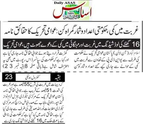 Pakistan Awami Tehreek  Print Media Coverage Daily Asas Back Pag