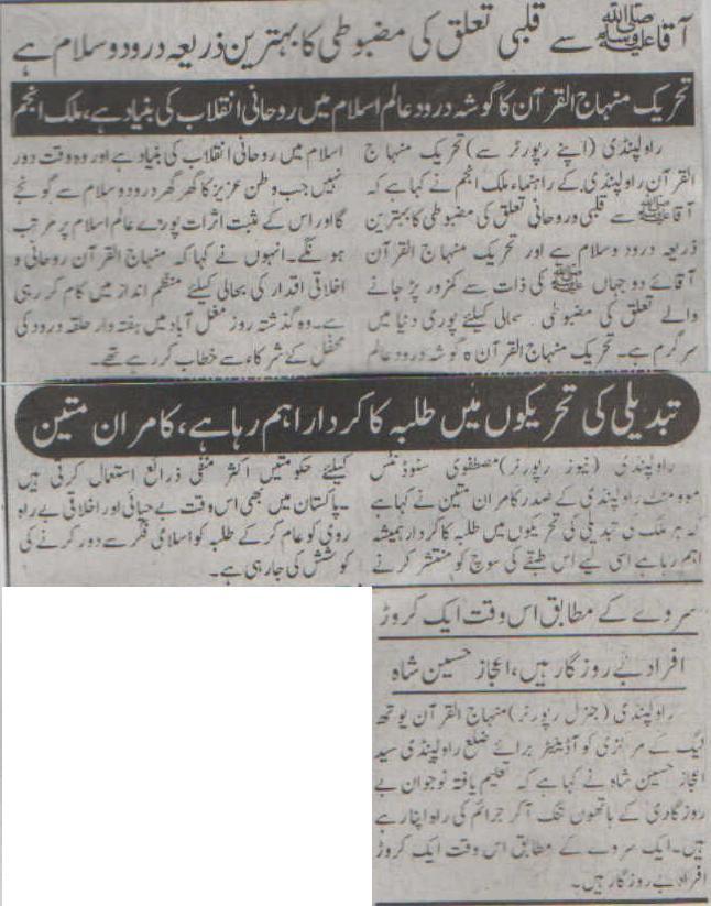 Minhaj-ul-Quran  Print Media CoverageDaily Pakistan Niazi Group