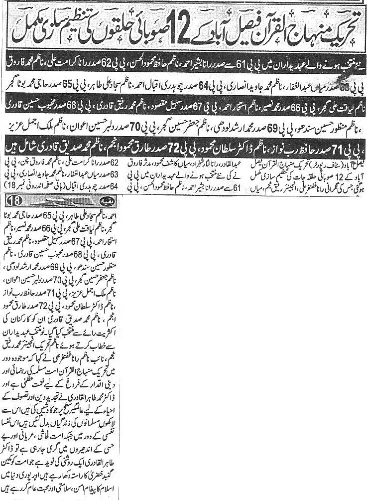 Minhaj-ul-Quran  Print Media CoverageDaily Har Lahma