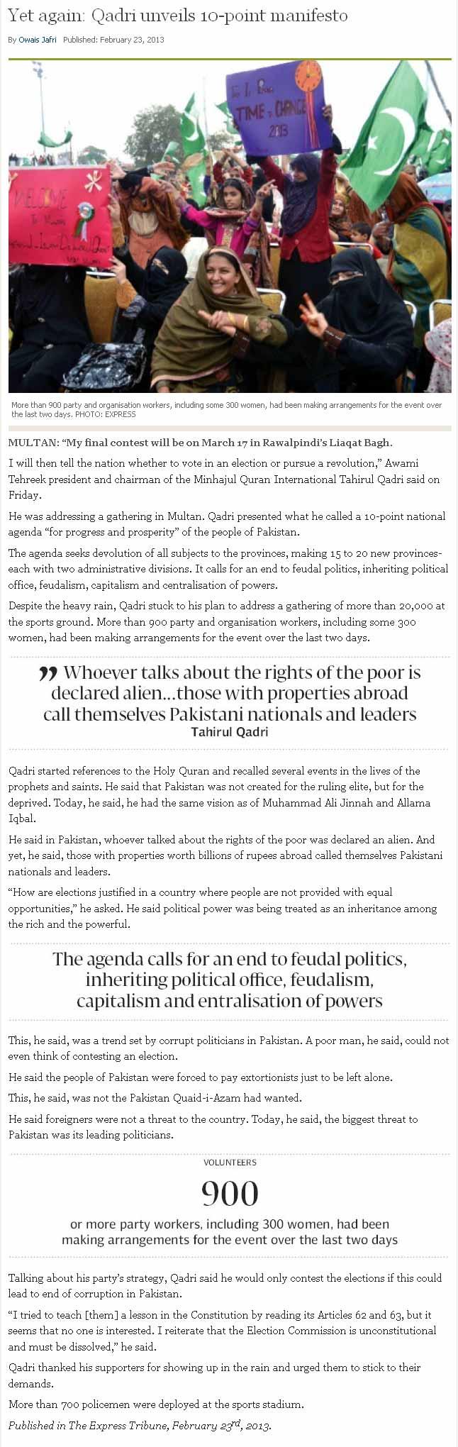 Pakistan Awami Tehreek  Print Media Coverage Daily Express Tribune