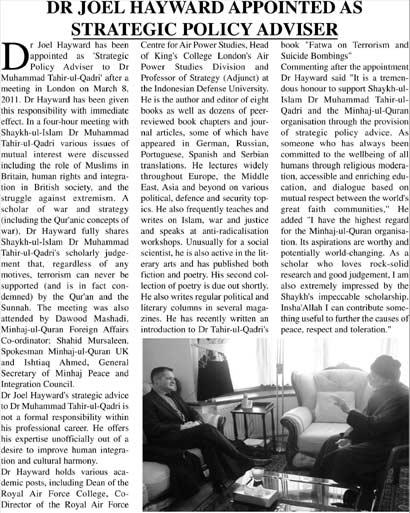 Minhaj-ul-Quran  Print Media CoverageUrdu Times UK Page: 13