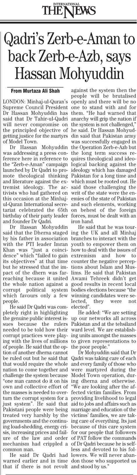 Pakistan Awami Tehreek  Print Media Coverage Daily The News Page 5
