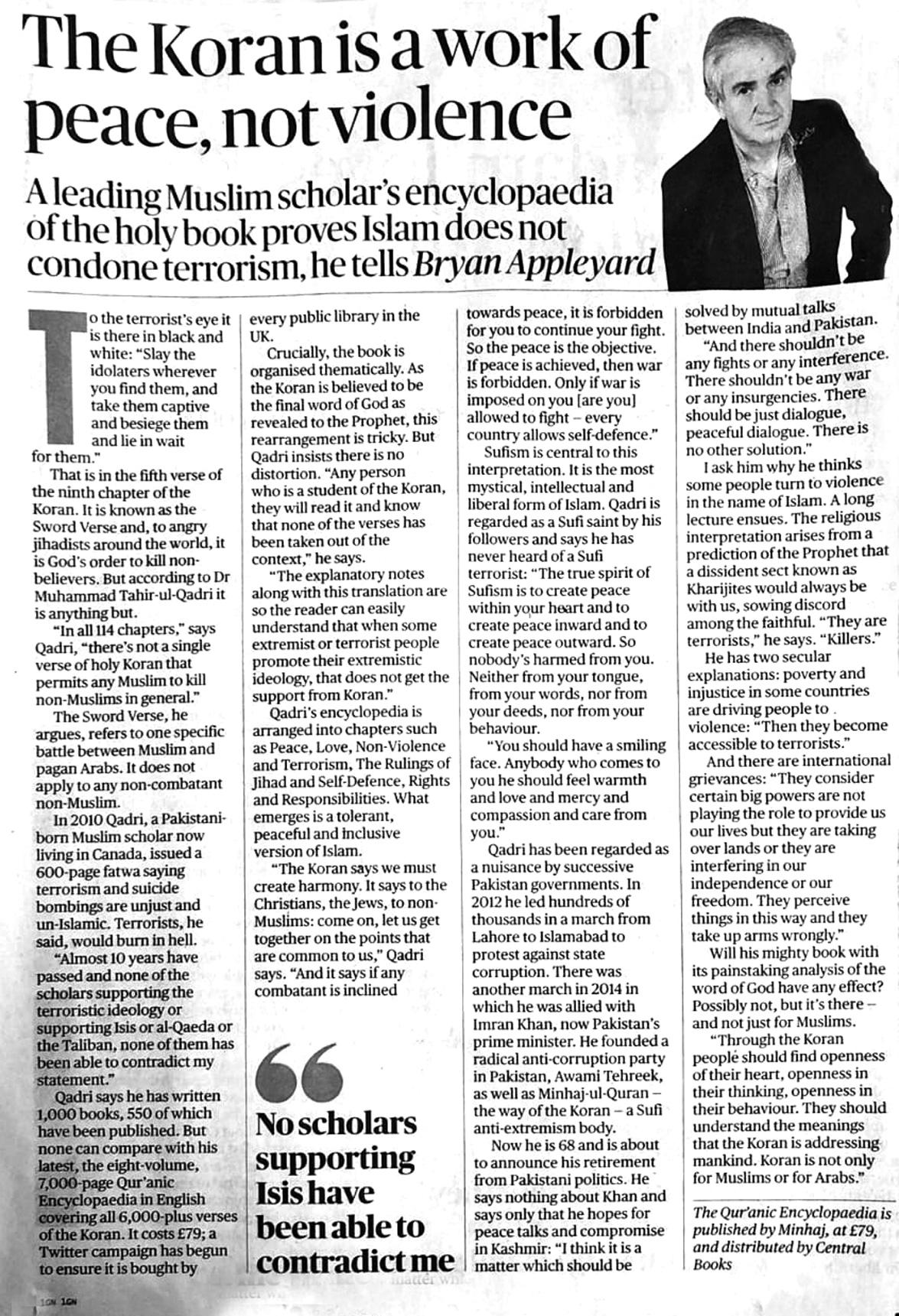 Minhaj-ul-Quran  Print Media CoverageThe Times (UK)