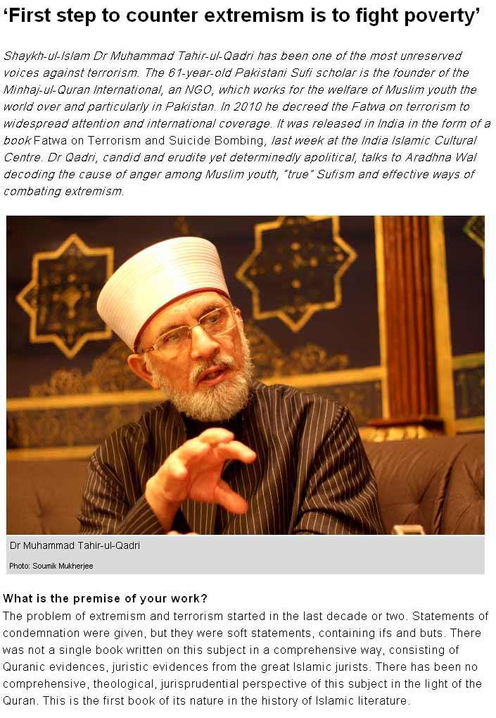 Minhaj-ul-Quran  Print Media CoverageTehelka-1