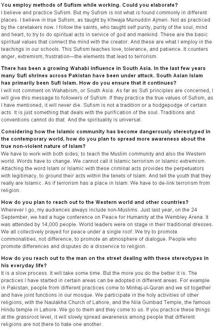 Minhaj-ul-Quran  Print Media CoverageTehelka-3